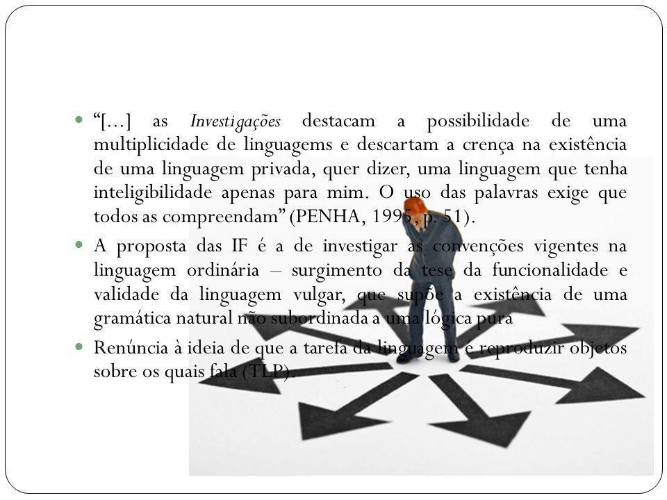 [...] as Investigações destacam a possibilidade de uma multiplicidade de linguagems e descartam a crença na existência de uma linguagem privada, quer dizer, uma linguagem que tenha inteligibilidade apenas para mim. O uso das palavras exige que todos as compreendam (PENHA, 1995, p. 51).